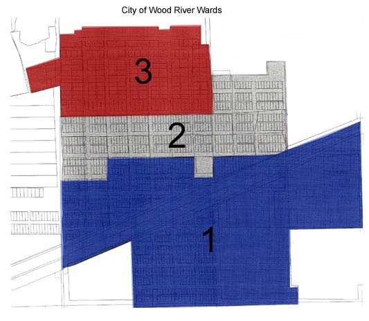 City Ward Map divided into 3 section. Each section has 2 representatives on the city council.